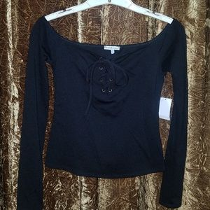 NWT Black Lace Up Crop Top Small Goth Witchy Small